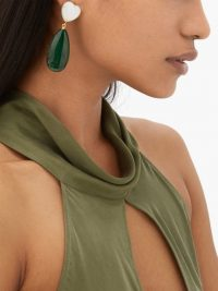 LIZZIE FORTUNATO Roumana malachite drop earrings ~ large green drops