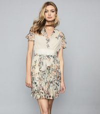 REISS SADIE FLORAL PRINTED MINI DRESS NEUTRAL ~ feminine look clothing