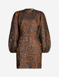 SAMSOE & SAMSOE Harriet metallic cloque mini dress in argan oil. BALLOON SLEEVED DRESSES
