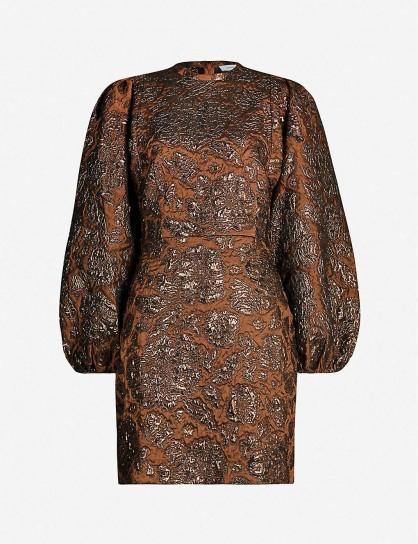 SAMSOE & SAMSOE Harriet metallic cloque mini dress in argan oil. BALLOON SLEEVED DRESSES