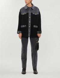 SANDRO Denim-panel knitted cardigan in black