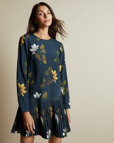 Ted Baker DANEES Savanna long sleeved tunic in Dark Blue – drop waist floral print dresses - flipped