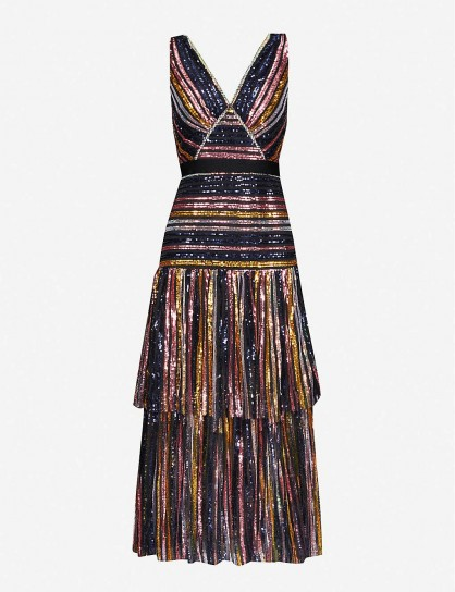 SELF-PORTRAIT Striped sequinned midi dress. MULTICOLOURED SEQUIN COVERED DRESSES