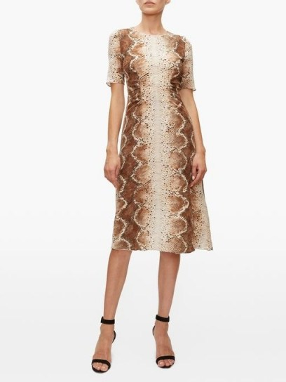 ALTUZARRA Silvia snake-print dress in beige - flipped