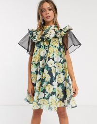 Sister Jane mini smock dress with organza sleeve in oversized floral