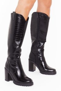 NASTY GAL Snake a Hint Faux Leather Knee-High Boots in black