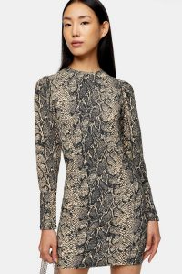 TOPSHOP Snake Crinkle Long Sleeve Mini Dress
