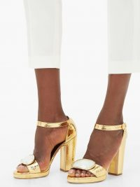 RUPERT SANDERSON Soraya gemstone-buckle leather sandals in gold / luxe block heels