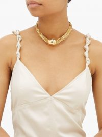 BOTTEGA VENETA Sphere pendant 18kt gold-plated choker necklace – statement chokers