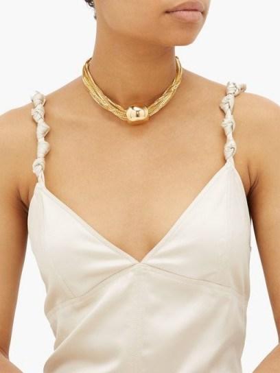 BOTTEGA VENETA Sphere pendant 18kt gold-plated choker necklace – statement chokers - flipped