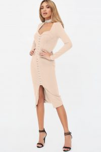 LAVISH ALIVE square neck corset midi dress in beige – fitted going out dresses