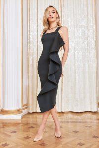 LAVISH ALICE square neck ruffle scuba dress in black – ruffled lbd