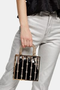 Topshop STELLA Gold Pearl Cage Bag – small embellished bags