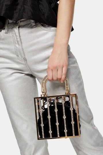 Topshop STELLA Gold Pearl Cage Bag – small embellished bags - flipped