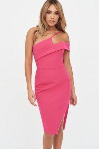 LAVISH ALICE strappy off shoulder midi dress in pink – Barbie glamour