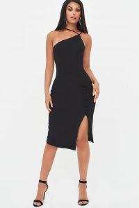 LAVISH ALICE strappy split side midi dress in black – lbd