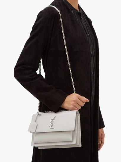SAINT LAURENT Sunset medium grey leather cross-body bag ~ designer chain strap handbag
