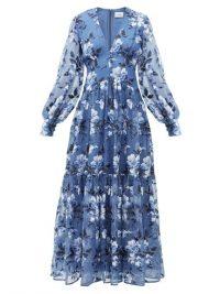 ERDEM Tabetha floral-embroidered silk-organza gown in blue