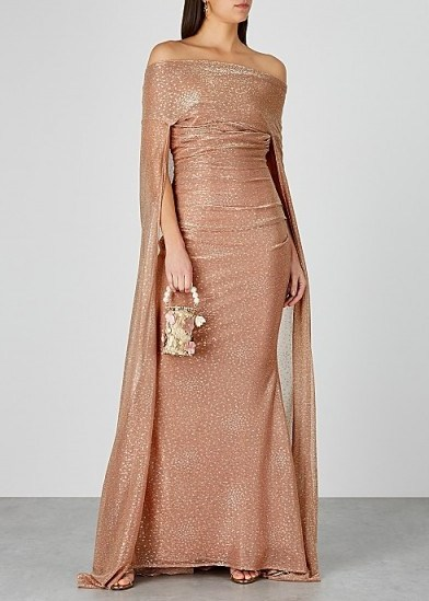TALBOT RUNHOF Bortolo blush metallic gown / red carpet style gowns - flipped