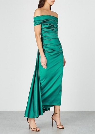 TALBOT RUNHOF Bozica teal off-the-shoulder satin dress ~ ruched event gowns - flipped