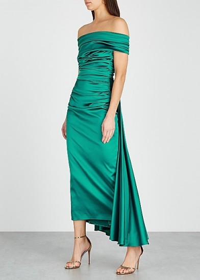TALBOT RUNHOF Bozica teal off-the-shoulder satin dress ~ ruched event gowns