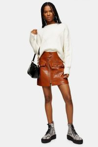 Topshop Tan Crocodile Zip PU Mini Skirt