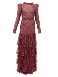 THE VAMPIRE'S WIFE The Early metallic-lace dress in burgundy ~ tiered maxi