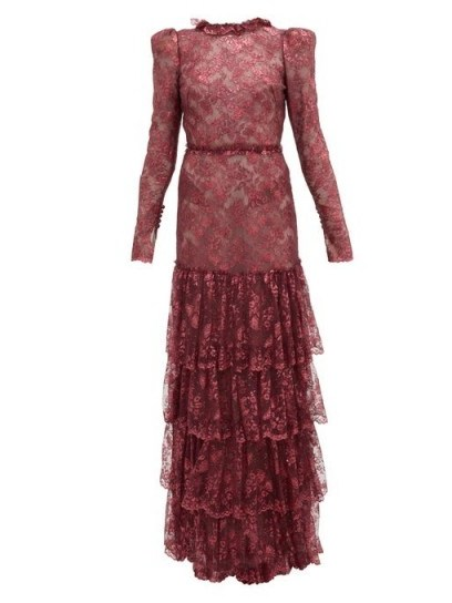 THE VAMPIRE'S WIFE The Early metallic-lace dress in burgundy ~ tiered maxi - flipped