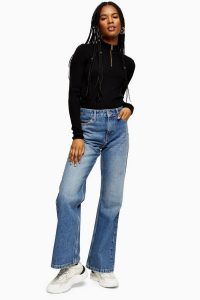 Topshop Two 90s Rigid Flare Jeans in mid stone