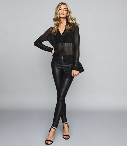 REISS VALERIE LEATHER PONTE LEGGINGS BLACK ~ glamorous skinnies - flipped