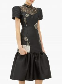 ERDEM Valetta crystal-embellished mikado dress in black / lbd