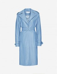 VICTORIA VICTORIA BECKHAM Belted leather trench coat in ice blue