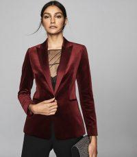 REISS VIXENA VELVET BLAZER CLARET ~ dark red luxe jacket