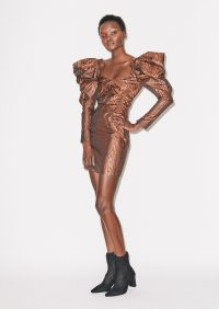 HOUSE OF HOLLAND VOLUME SLEEVE MINI DRESS BRONZE