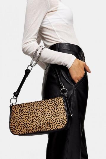 TOPSHOP WHIRL Leopard Shoulder Bag With Leather