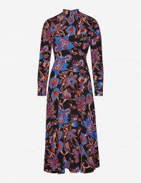 WHISTLES Ruby Trailing Bloom graphic-print crepe midi dress black/multi