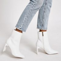 RIVER ISLAND White textured high heel boots – side zip ankle boots
