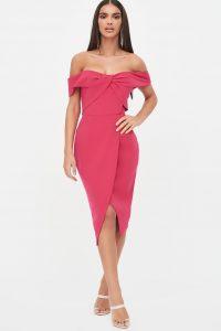 LAVISH ALICE woven twist bardot midi dress in pink – off the shoulder bodycon