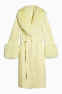 TOPSHOP Yellow Faux Fur Trim Coat / luxe style winter coats