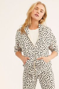 Monrow Cheetah Boxy Zip-Up Hoodie in Bone – animal print hoodies