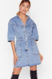 Nasty Gal Acid Wash 'N' Learn Denim Mini Dress in Vintage Blue