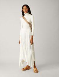JOSEPH Ade Rib Plisse Skirt in Ivory / asymmetric hemline skirts