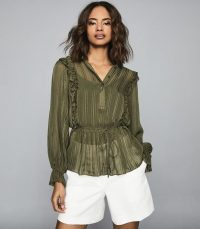REISS ALANDRA SEMI-SHEER RUFFLED TOP KHAKI ~ green tie waist blouse