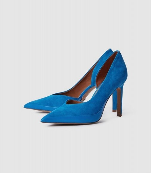 REISS ALENNA SUEDE COURT SHOES COBALT BLUE ~ side cut out courts - flipped