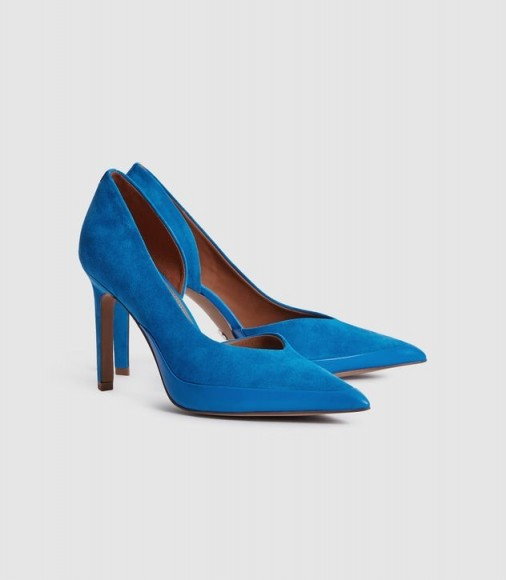 REISS ALENNA SUEDE COURT SHOES COBALT BLUE ~ side cut out courts