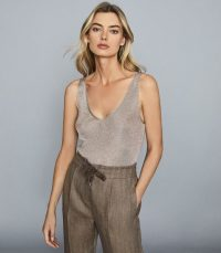 Reiss ALEXIS METALLIC KNITTED TOP SILVER – luxury style vest tops