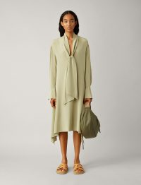 JOSEPH Alisson Crepe De Chine Dress in Sage / fluid green dresses