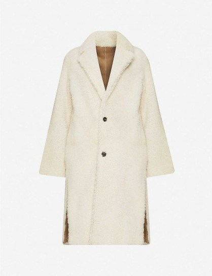 ALLSAINTS Tia shearling coat in Chalk White ~ textured winter coats - flipped