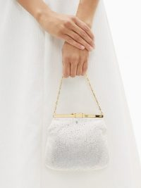 BIENEN-DAVIS 4AM crystal & satin clutch bag in pale pink | luxe occasion bags