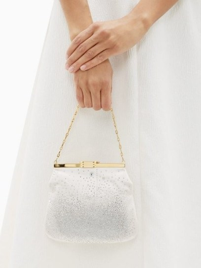 BIENEN-DAVIS 4AM crystal & satin clutch bag in pale pink | luxe occasion bags - flipped